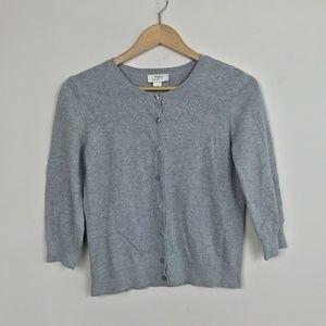 LOFT Cardigan 3/4 Sleeve Gray Sz: M